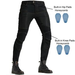 padded jeans pant Australia - Men Motorcycle Riding Jeans Motocross Racing Pants Moto Vaqueros Pantalon With 4 X Honeycomb CE Armor Knee Hip Protector Pads
