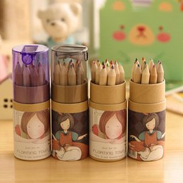 wholesale pc stationery set Australia - 12 PCS set Kawaii Cute Girl Wooden Colored Pencil Set Wood Color Pencils for Kid School Stationery Drawing Papeleria sl1190