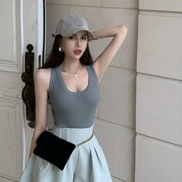 tight fashion vests NZ - 605Ot Women's tight waist-tight sports 2020 Summer new Korean style Top Vest vest mini-machine off-shoulder all-match knitted sleeveless top