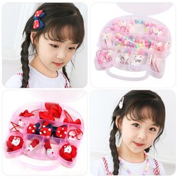 cartoon cat hair accessories Australia - pEq4U Korean style new children's accessories pin Butterfly hair rope set cartoon cat Heart-Shaped Box girls' hair rope bow hairpin headdres