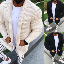 Wholesale shawl collar cardigan men for sale – oversize Shawl Collar Cardigan Sweater Men Autumn New Knitted Sweater Coat with Pocket Casual Slim Fit Coarse Pull Homme Beige Knitwear