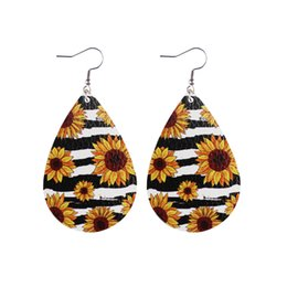 sunflower printed fashion UK - Fashion style summer sunflower daisy double side printed leather Earrings water drop leaf Earrings