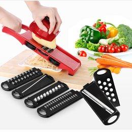 mandoline vegetable slicer UK - Stainless Steel Multifunctional Vegetable Peeler Cutter With 6 Interchangeable Stainless Steel Blades Cooking Tool Mandoline Slicer