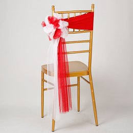 white wedding chairs wholesale UK - 25pcs lot Wedding Chiavari Chair Decoration White Red Chair Sashes Stretch Lycra Band For Hotel Banquet Party Decor