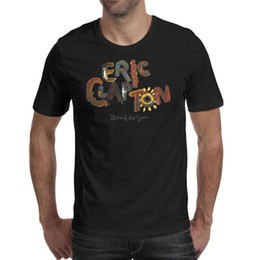 black color guitar UK - Fashion Mens eric clapton behind the sum black Round neck t shirt Personalised Awesome shirts Eric Clapton Playing Guitar Music logo