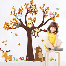large forest wall stickers Australia - 180x100cm Cartoon Forest Animal Owl Monkey Tree PVC Wall Sticker Auto-stick Removable Waterproof Wallpapers Home Décor Home & Garden HA1034