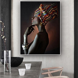 indian abstract art paintings 2021 - African Nude Woman Indian Headband Portrait Wall Art Pictures Painting Wall Art for Living Room Home Decor (No Frame)