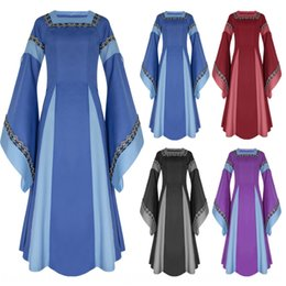 Wholesale medieval court dress for sale – halloween jNrPj New two color stitching big trumpet sleeve medieval dress Court New two color Horn Horn stitching big trumpet sleeve medieval dress Co