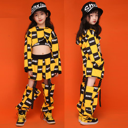 Wholesale children dancing hip hop costume resale online - 110 cm New Hip Hop Children Jazz Dance Costume Girls Performance Clothes Tops Pants Street Dance Costumes Clothing DL6311