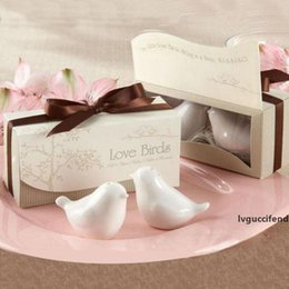 wholesale spice packaging NZ - Wedding Favor Love Bird Salt and Pepper Shaker Set Party Gift with a Fancy Package Box 7 Colors