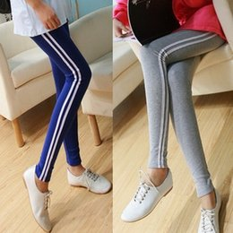 vertical stripes leggings pants Australia - Korean style slimming side white vertical stripes leggings sports slim pencil tight Casual tight pants casual pants