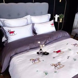 horses sheets Australia - 4 Pcs Cotton European Palace Horse Bedding set Embroidery Duvet cover Bed sheet Pillowcases dIar#