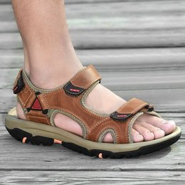 heel sandles UK - Mens Gladiator Sandals Summer 2020 New Style Beach Shoes Mens Outdoor Sandals Male Genuine Leather Casual Shoes Sandles 2.5 FxqO#