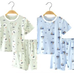 silk baby clothing Australia - MiEp5 2020 new bamboo fiber Ice Children's suit clothes baby clothes Silk cool fabric male and female baby Summer short sleeve two-piece Chi