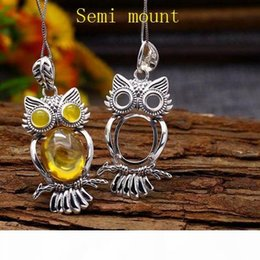 oval pendant mountings UK - 5x5mm Round 13x16mm Oval Cabochon Semi Mount Pendant Sterling Silver 925 Owl Art Nouveau Antique Vintage