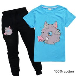 cute boy t outfits UK - Toddler Boys Clothing Sets Kids Summer Short Sleeve Cute Clothes Set Girl Sport Outfit Children Anime Harajuku T Shirt Suit