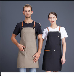 custom aprons Australia - 3 Colors Adult Apron High-end Best Quality Durable Work Clothes Custom Logo Western Restaurant Coffee Shop Tea Shop Waiter Apron