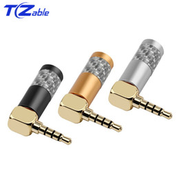 speaker connectors Australia - Speaker Connector 3.5 mm Jack Audio Plug Connectors 4 Poles Stereo 90 Degree Headphone Male Plug For Earphone Cable Solder Wire Adapter