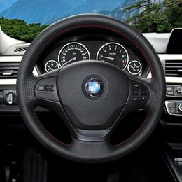 sports car wheels UK - For BMW 320 Sport Black leather Car DIY Hand Sewing steering wheel cover