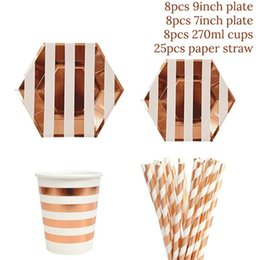 birthday party decoration sets Australia - 49pcs set Rose Gold Birthday Party Paper Plates Cups Straw Happy Birthday Party Decoration Adults Girl Boy Disposable Tableware