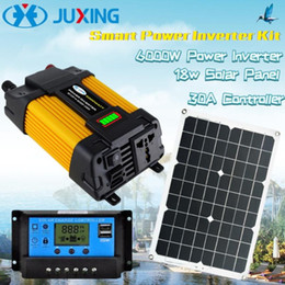 solar panels inverter NZ - JUXING Solar Power Inverter Kit: 6000W 4000W Power Converter and 18W Solar Panel with 2 USB and 30A Controller DC 12V to AC Use