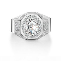 men s gift sets Australia - K 2017 New Arrival Luxury Jewelry 925 Sterling Silver Ovial Pave White Topaz Gemstones Cz Diammon Men Ring For Lover ' ;S Gift Size