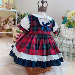 turkey gowns NZ - 2PCS Summer Baby Girl Vintage Spanish ShortSleeve England Plaid Turkey Lolita Bow Ball Gown Princess Dress Birthday Party Dress 6TCL#