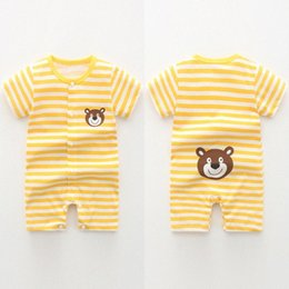 girls anime clothing UK - Bodysuits Baby Girl Baby Rompers Summer Toddler Clothing Romper Infant Newborn Boy Girl Clothes Jumpsuit Striped Anime Tao 8DuS#