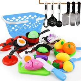 pretend kids kitchen play set NZ - 25Pcs DIY Cute Cutting Fruit Vegetable Pretend Play Toy Set Kitchen Food Cook Cosplay Girls Children Kid Educational Toy Gift