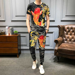 Wholesale polyester fishing shirt resale online - Mens Tracksuits Fish Print Short Sleeve T Shirts Piece Sets Male Outfits Set High Quality Tops and Pants