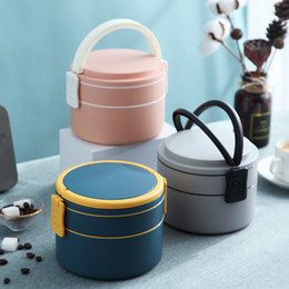 Wholesale Portable double-layer lunch box Fresh Color Student Lunch Box PP healthy microwave insulated lunch container picnic school Food storage box