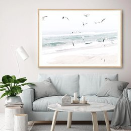beach canvas print framed UK - Beach Coastal Seagull Landscape Canvas Painting Modern Nordic Minimalist Posters Prints Wall Art Pictures for Living Room Home Decoration