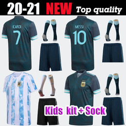 messi kid jerseys 2021 - 2020 2021 men kids Argentina soccer sports Jersey 2019 home away MARIA AGUERO HIGUAIN 19 20 MESSI DYBALA boys kit Football shirt
