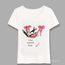 lipstick t shirts 2020 - Give A Girl High Heels And Red Lipstick She Will Rule The World T-Shirt Women T-Shirt Girl Tops Fashion Casual Tees Hara