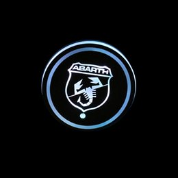 led badges for cars NZ - 2pcs set Abarth Scorpion Badge Car Led Shiny Water Cup Mat Luminous Coaster Atmosphere Light For Abarth Car