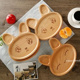 fruit tray bowl UK - Kitchen Tools Cartoon Rabbit Shape 4 Styles Dinner Tray Eco-friendly Fruit Snack Children Baby Bowl Rabbit Mood Wooden Food Plate DH0395 T03