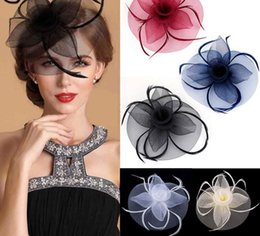 lady bow hair clips Australia - Fashion Handmade Lady Women Fascinator Bow Hair Clip Headwear Lace Feather Mini Hat Wedding Party Accessory Race GB1091