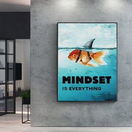 Wholesale Wall Art Canvas Painting Printed Home Decor Mindset Is Everything Shark Fish Pictures Motivational Nordic Poster For Living Room