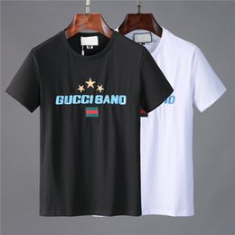 Wholesale italian mens casual clothing for sale – oversize Italian designer Crew Neck Short Sleeve Cartoon embroidery Printing Summer Black White high quality Cotton Casual T shirt Mens Clothing