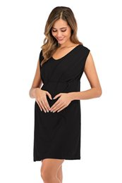knitted maternity dresses Canada - New Maternity Wear Fashionable Personality Beautiful and Comfortable Knitted Round Neck Sleeveless Maternity Dress