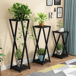 Living Room Wrought Iron Flower Shelf Green Rose Rack Balcony Flower Pot Rack Multi Layer Indoor Special Offer Floor Standing SyQD#