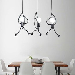 Wholesale Nordic Creative Iron Hanging Lights For Dining Living Room Little Man Climbing Rope Pendant Lights Art Decoration Pendant Lamp Free shipping
