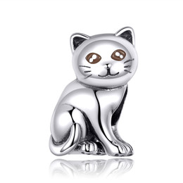 Wholesale Vintage Silver Cute Cat Charms Hihg Polish Fit Fashion European Bracelet Genuine Sterling Silver jewelry For Girls DIY