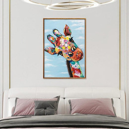 abstract art paintings for kids NZ - Abstract Wall Art Graffiti Canvas Oil Painting Curious Giraffe Animal Poster Prints Street Art Wall Pictures for Kids Room Modern Home Decor