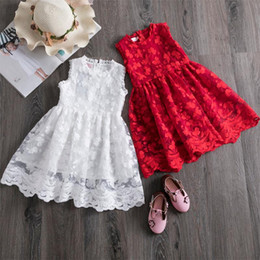 Discount white lace kids dress casual Lace Dress for Girls Summer Sleeveless Princess Dress Baby Girls Party Clothes Casual Wear Kids Dresses For 3-8 Yrs