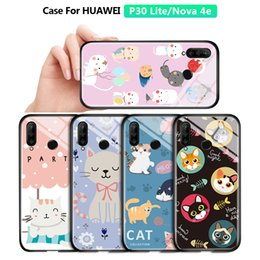 nova cartoon Australia - For Huawei P30 Lite Nova 4E Luxury Lovely Girls Cartoon Cat Pet Glossy Casing Phone Case Shockproof Tempered Glass Back Cover