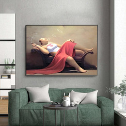 chinese canvas art prints 2021 - Chinese Smoking Fat Woman Oil Painting Canvas Art Poster and Prints Wall Art for Living Room Home Decor (No Frame)