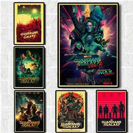 mirror sticker paper NZ - Marvel Superhero Movie Guardians of the Galaxy Vintage Poster Kraft Paper Wall sticker For Room Decor Printed Art Retro Painting MchD#