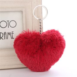 heart shaped handbags wholesale Australia - 2020 New Keychain Soft Solid Color Heart Shape Pompom Faux Rabbit Fur Ball Car Handbag Key Ring Gift Accessories Free Shipping
