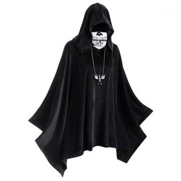 Discount red devil mask Hooded Solid Color Cloak Mens Womens Designer Cosplay Clothes Halloween Mask Cloak Theme Costume